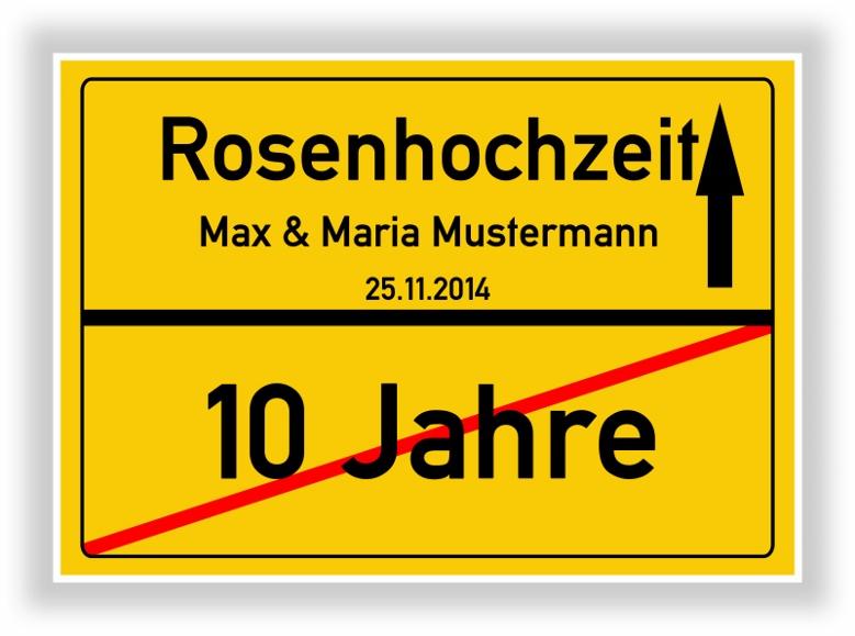 Details Zu Rosenhochzeit Ortsschild Schild Hochzeitstag 10 Jahre Geschenk Jubiläum